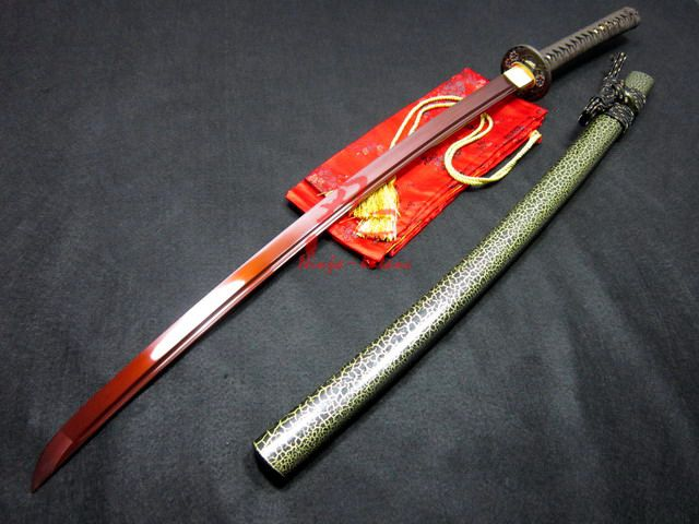 9260 spring steel jp red katana sword plum blossom tsuba ...